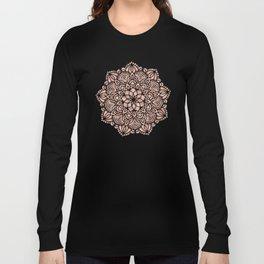 Mandala Seashell Rose Gold Coral Pink Long Sleeve T-shirt