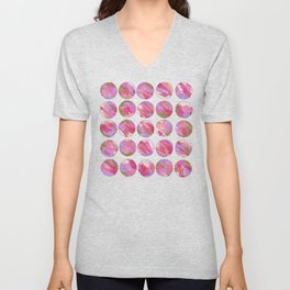 'Twilight' Pink, Purple and Gold Abstract Illustration Unisex V-Neck