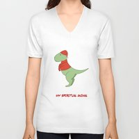 trex V-neck T-shirts featuring trex dinosaur funny arms by captainkittyspa