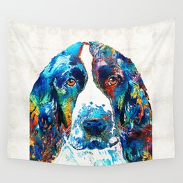 Colorful English Springer Spaniel Dog by Sharon Cummings Wall Tapestry