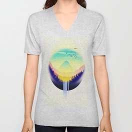 Landscape waterfall orb Unisex V-Neck
