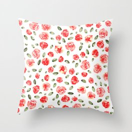 Red Roses Watercolor // Hand Painted Watercolor Floral // Rose Red and Leaf Green Throw Pillow