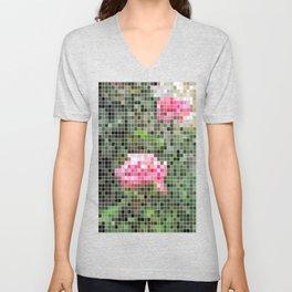 Pink Roses in Anzures 5  Mosaic Unisex V-Neck
