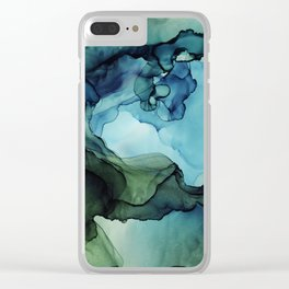 Land and Water Abstract Ink Painting Blues and Greens Clear iPhone Case