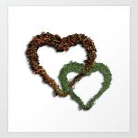 natural hearts Art Print