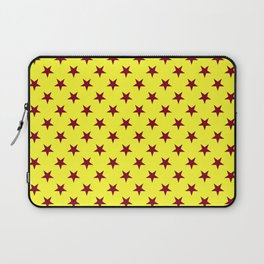 Burgundy Red on Electric Yellow Stars Laptop Sleeve