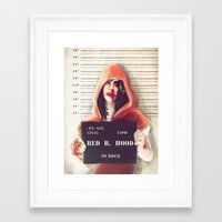 red riding hood Framed Art Prints featuring Red Riding Hood by adroverart