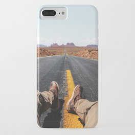 on the road in the monument valley iPhone Case