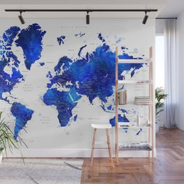 """Navy blue and cobalt blue watercolor world map with cities labelled, """"Carlynn"""" Wall Mural"""
