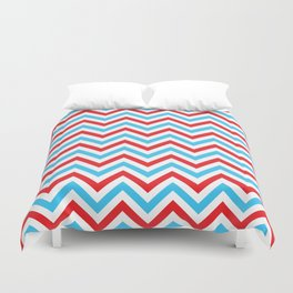 Red and Turquoise Chevron Pattern Duvet Cover