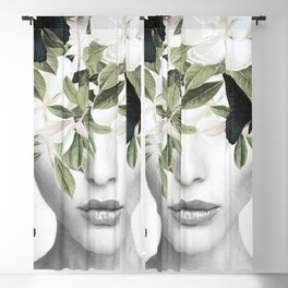 Woman With Flowers and Butterflies 3 Blackout Curtain