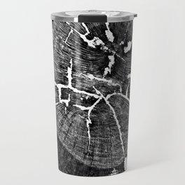 Black and White Tree Veining and Cracks Travel Mug
