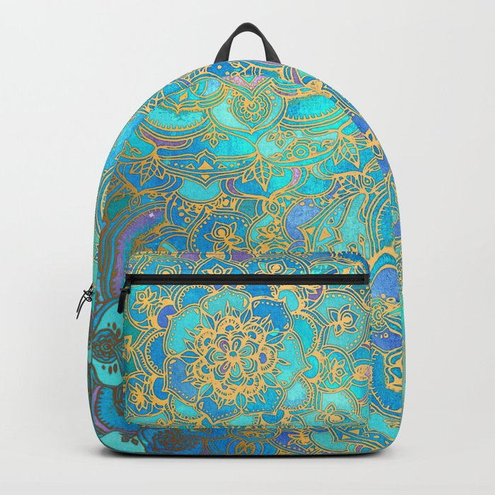 Sapphire & Jade Stained Glass Mandalas Backpack