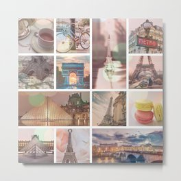Paris & Eiffel Tower Collage Metal Print