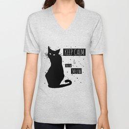Hand drawn grange black cat Unisex V-Neck
