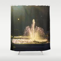 apollo Shower Curtains featuring The Fountain of Apollo, Madrid by Svetlana Korneliuk
