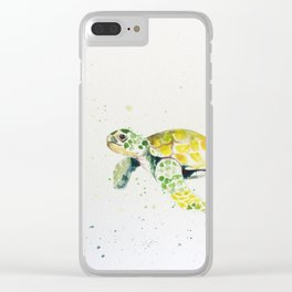 turtle watercolor art Clear iPhone Case