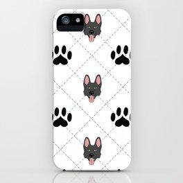 Black German Shepherd Paw Print Pattern iPhone Case