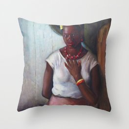 African American Masterpiece 'Katy, Queen of Tennessee' by Frank Stanley Herring Throw Pillow