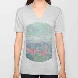 In the Pyrenees, arylic birds Unisex V-Neck