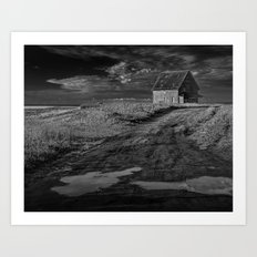 Farm building along the coast on Prince Edward Island in Black and White Art Print