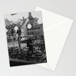 Copenhagen street scene,view from cafe, black and white Stationery Cards