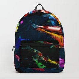 Vibrant Blue, Red, & Gold Koi Amid the Lotus Flowers Painting by Jeanpaul Ferro Backpack