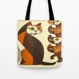 Inagaki Tomoo Vintage Japanese Woodblock print mid century Modern Cubism Art Cats Feline Tote Bag