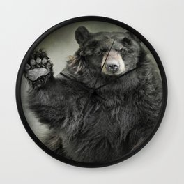 Black Bear Greeting Wall Clock