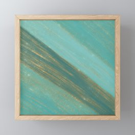 Abstract gold glitter teal green watercolor brushstrokes Framed Mini Art Print