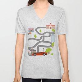 Maze Race Car Back Rub Play Mat graphic for Men Dads Gift T Unisex V-Neck