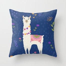 Llama on Blue Throw Pillow