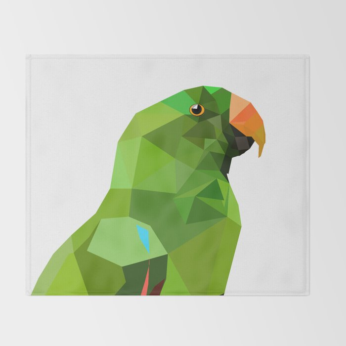 Eclectus parrot Geometric bird art Throw Blanket