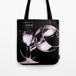 Two wine glasses on black Tote Bag