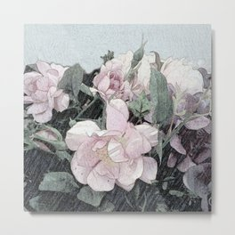 Shabby-chic Romantic Rosebush Painting Metal Print