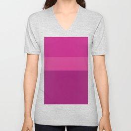 CERISE & PINK 3-TONE (Horizontal stripes) - Mix & Match Unisex V-Neck
