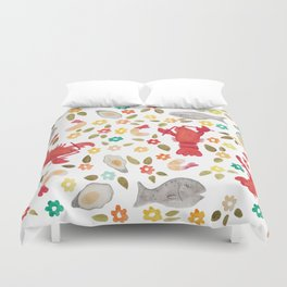 Seafood Spread with Flowers Duvet Cover