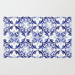 blue tile pattern VI - Azulejos, Portuguese tiles Rug