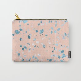 Turquoise Shimmery Terrazzo on Pink Carry-All Pouch