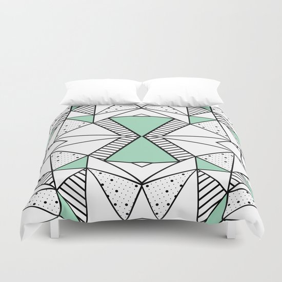 Ab Lines and Spots Mint Duvet Cover