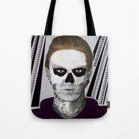 ahs Tote Bags featuring AHS : PSYCHOPATH by Andrea Valentina
