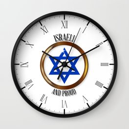 Israel And Proud Button Wall Clock