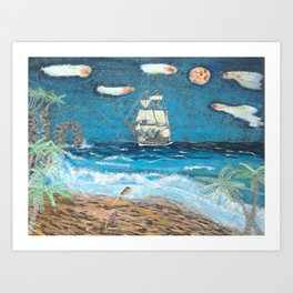HMS Victory in paradise Art Print