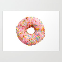Single pink donut Art Print