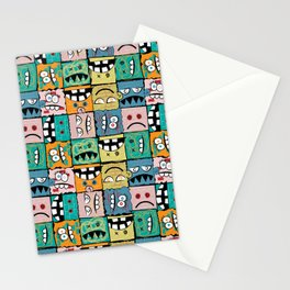 Wall of Graffiti Faces Stationery Cards