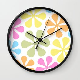 Abstract Flowers Bright Color Mix Wall Clock