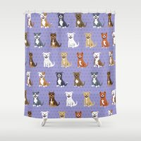 pit bull Shower Curtains featuring American PIT BULL TERRIERS by DoggieDrawings