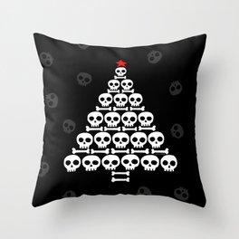 White Skulls and Bones Christmas Tree Throw Pillow