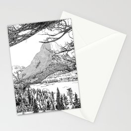 Montana Landscape Black and White Drawing Stationery Cards