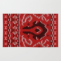 warcraft Area & Throw Rugs featuring Ugly Sweater 2 by SlothgirlArt
